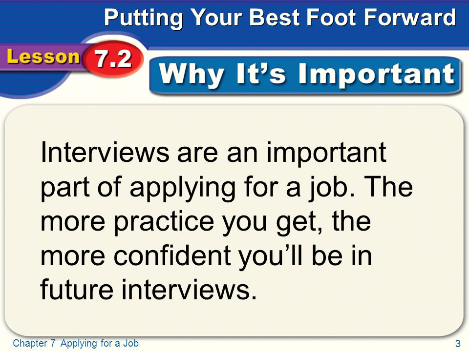 3 Chapter 7 Applying for a Job Putting Your Best Foot Forward Why It's Important Interviews are an important part of applying for a job.