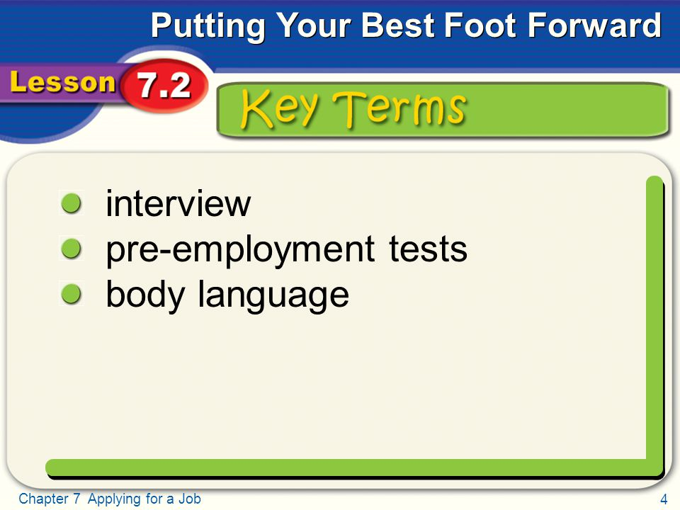 4 Chapter 7 Applying for a Job Putting Your Best Foot Forward Key Terms interview pre-employment tests body language