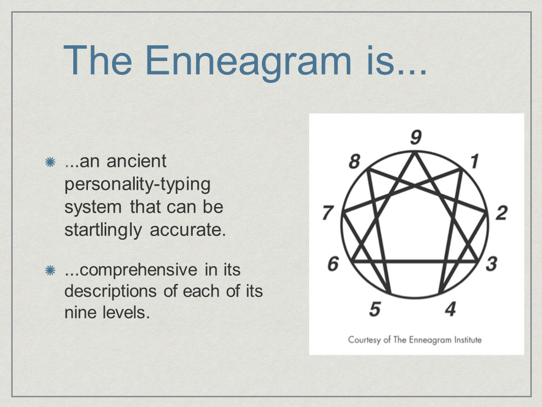 The Enneagram is......an ancient personality-typing system that can be startlingly accurate....