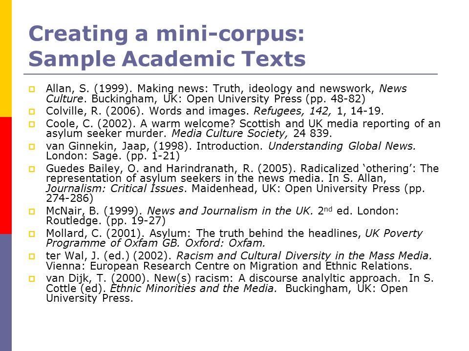 Creating a mini-corpus: Sample Academic Texts  Allan, S.