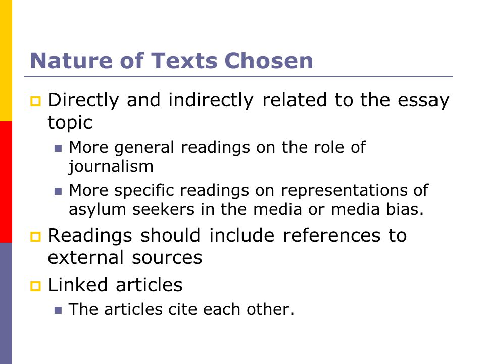 Nature of Texts Chosen  Directly and indirectly related to the essay topic More general readings on the role of journalism More specific readings on representations of asylum seekers in the media or media bias.