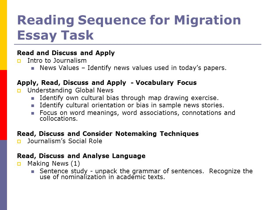 Reading Sequence for Migration Essay Task Read and Discuss and Apply  Intro to Journalism News Values – Identify news values used in today's papers.