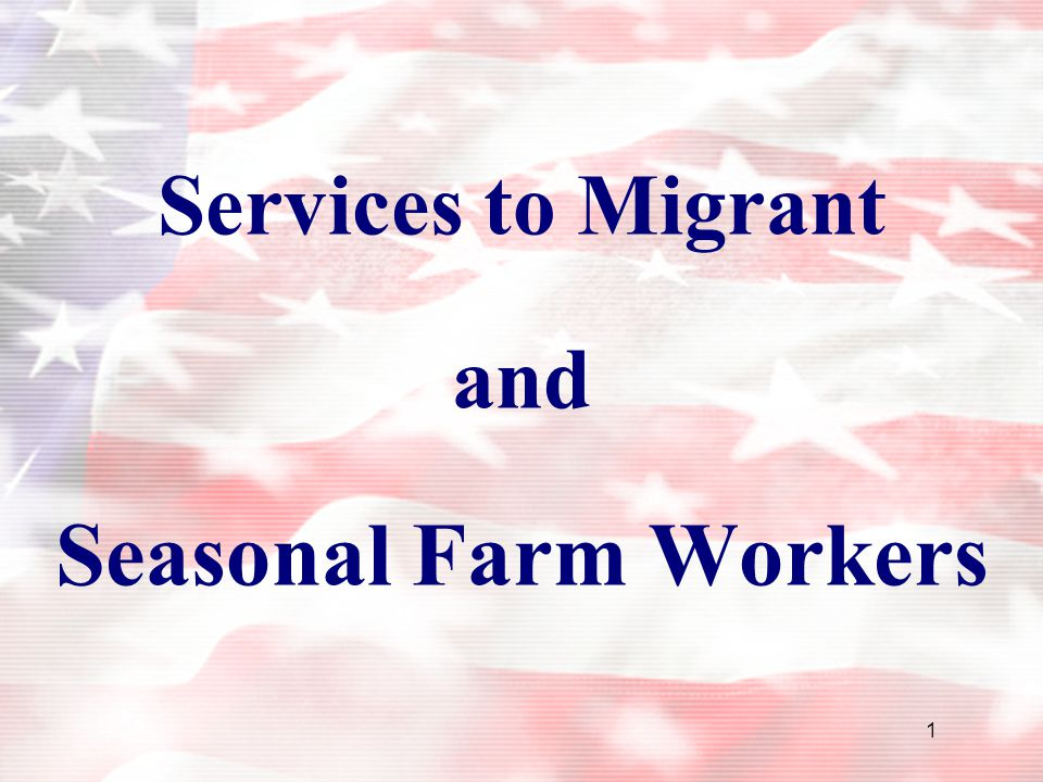 1 Services to Migrant and Seasonal Farm Workers