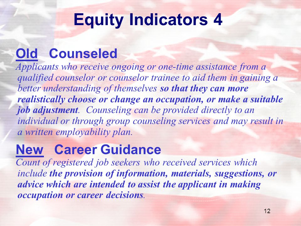 12 Equity Indicators 4 Old Counseled Applicants who receive ongoing or one-time assistance from a qualified counselor or counselor trainee to aid them