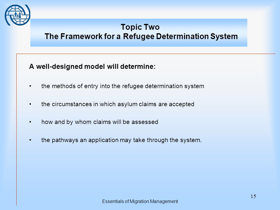 Essentials of Migration Management 15 Topic Two The Framework for a Refugee Determination System A well-designed model will determine: the methods of entry into the refugee determination system the circumstances in which asylum claims are accepted how and by whom claims will be assessed the pathways an application may take through the system.