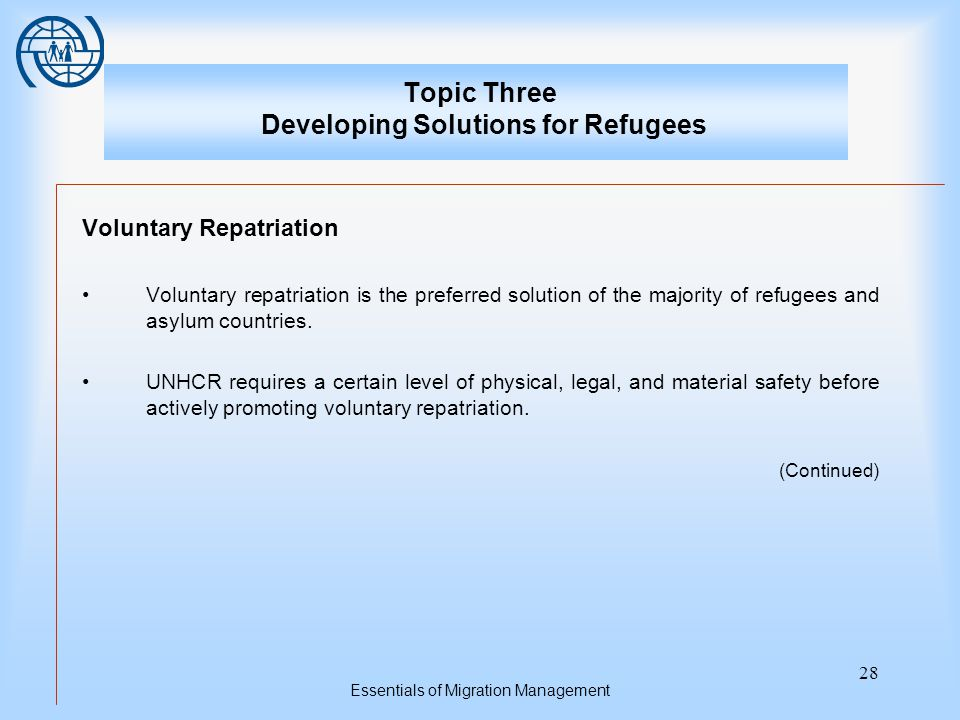 Essentials of Migration Management 28 Topic Three Developing Solutions for Refugees Voluntary Repatriation Voluntary repatriation is the preferred solution of the majority of refugees and asylum countries.