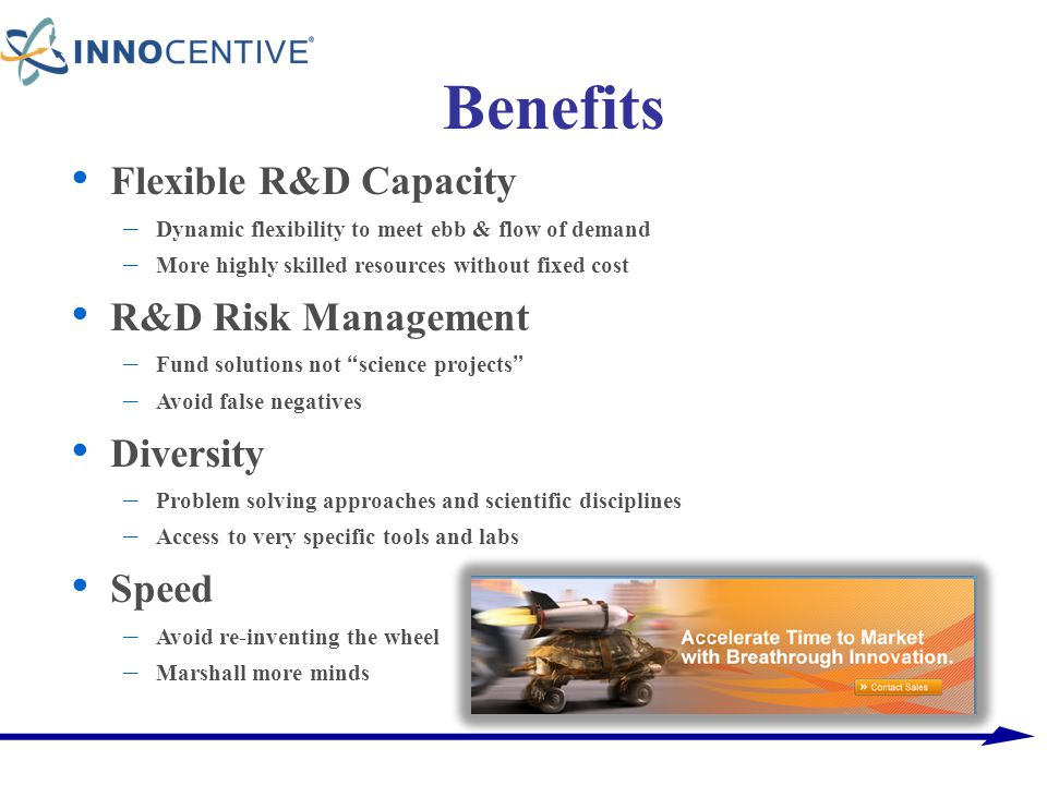 Benefits Flexible R&D Capacity – Dynamic flexibility to meet ebb & flow of demand – More highly skilled resources without fixed cost R&D Risk Manageme
