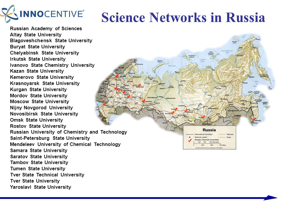 Science Networks in Russia Russian Academy of Sciences Altay State University Blagoveshchensk State University Buryat State University Chelyabinsk Sta