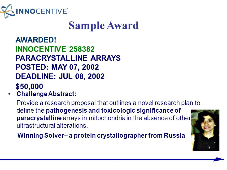 AWARDED! INNOCENTIVE 258382 PARACRYSTALLINE ARRAYS POSTED: MAY 07, 2002 DEADLINE: JUL 08, 2002 $50,000 Challenge Abstract: Provide a research proposal