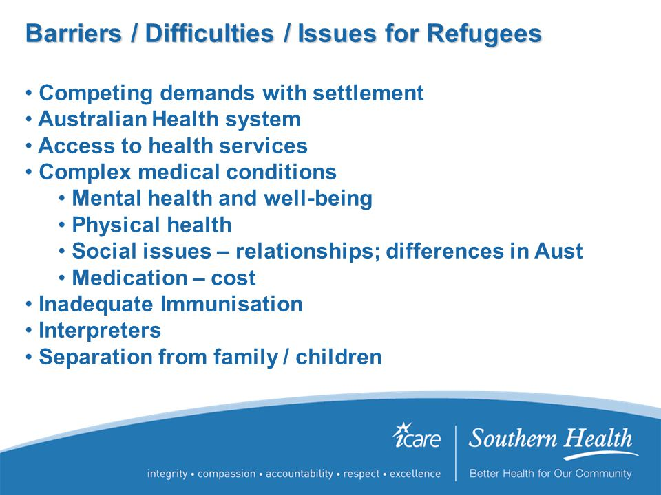 Barriers / Difficulties / Issues for Refugees Competing demands with settlement Australian Health system Access to health services Complex medical conditions Mental health and well-being Physical health Social issues – relationships; differences in Aust Medication – cost Inadequate Immunisation Interpreters Separation from family / children