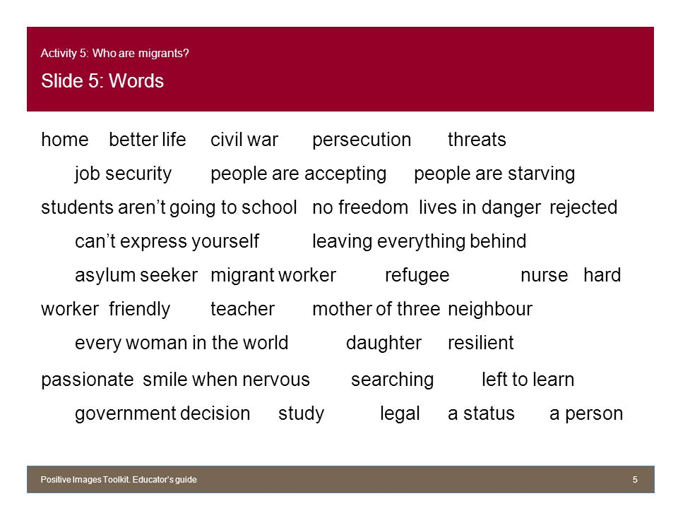 Activity 5: Who are migrants? Slide 5: Words homebetter life civil warpersecutionthreats job securitypeople are acceptingpeople are starving students
