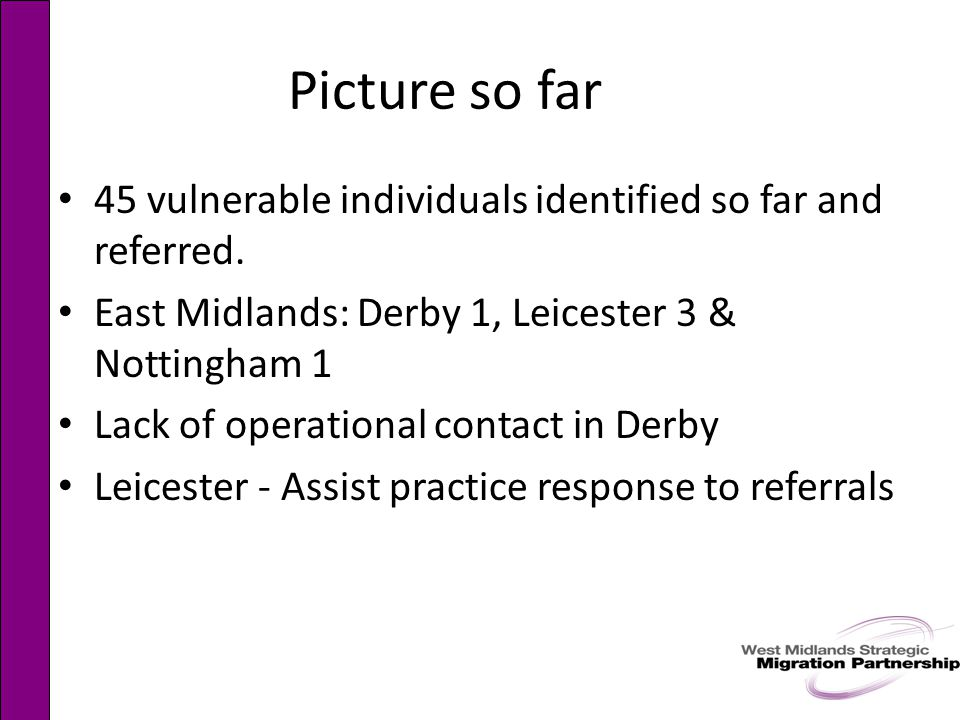Picture so far 45 vulnerable individuals identified so far and referred.