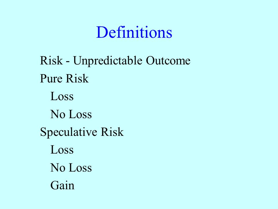 Definitions Risk - Unpredictable Outcome Pure Risk Loss No Loss Speculative Risk Loss No Loss Gain