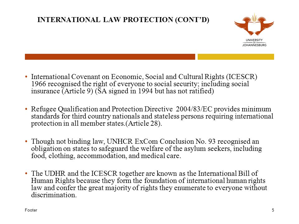 Footer5 INTERNATIONAL LAW PROTECTION (CONT'D) International Covenant on Economic, Social and Cultural Rights (ICESCR) 1966 recognised the right of everyone to social security; including social insurance (Article 9) (SA signed in 1994 but has not ratified) Refugee Qualification and Protection Directive 2004/83/EC provides minimum standards for third country nationals and stateless persons requiring international protection in all member states.(Article 28).