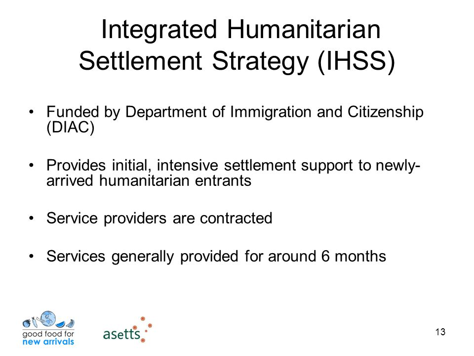13 Integrated Humanitarian Settlement Strategy (IHSS) Funded by Department of Immigration and Citizenship (DIAC) Provides initial, intensive settlement support to newly- arrived humanitarian entrants Service providers are contracted Services generally provided for around 6 months