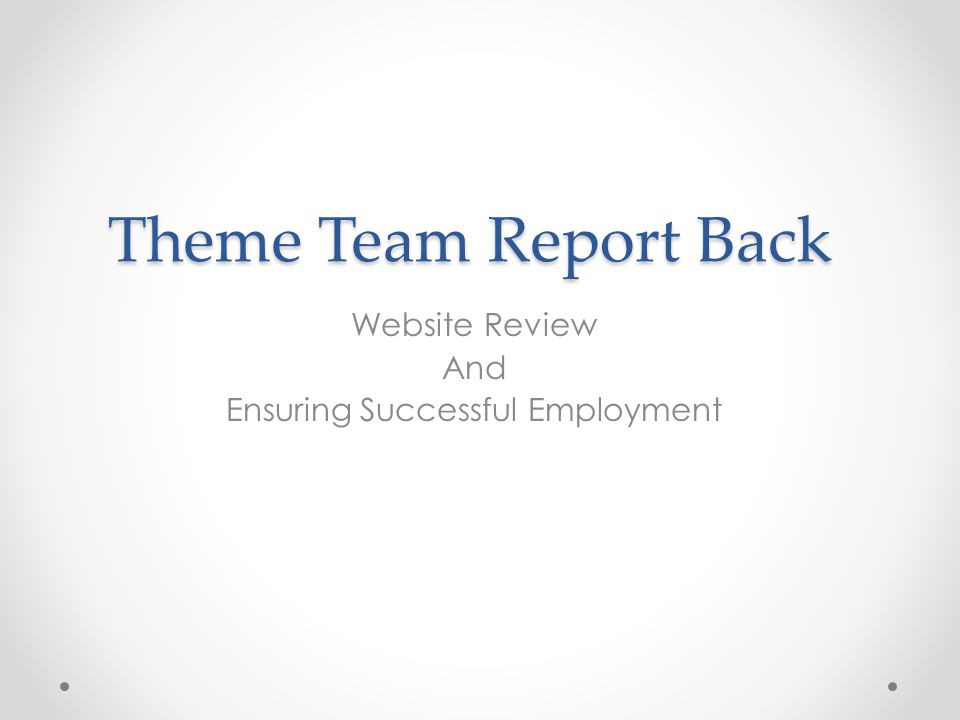 Theme Team Report Back Website Review And Ensuring Successful Employment