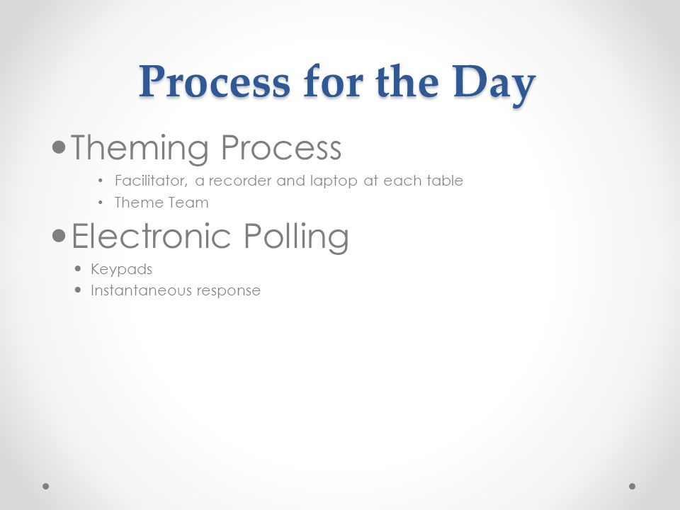 Process for the Day Theming Process Facilitator, a recorder and laptop at each table Theme Team Electronic Polling Keypads Instantaneous response