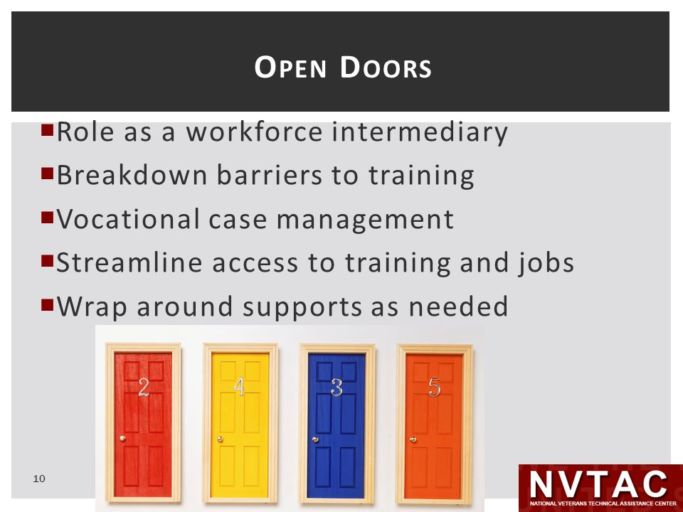 O PEN D OORS  Role as a workforce intermediary  Breakdown barriers to training  Vocational case management  Streamline access to training and jobs  Wrap around supports as needed 10