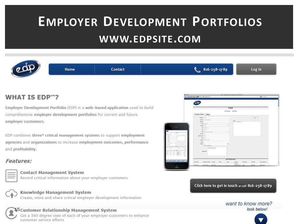 E MPLOYER D EVELOPMENT P ORTFOLIOS WWW. EDPSITE. COM 15