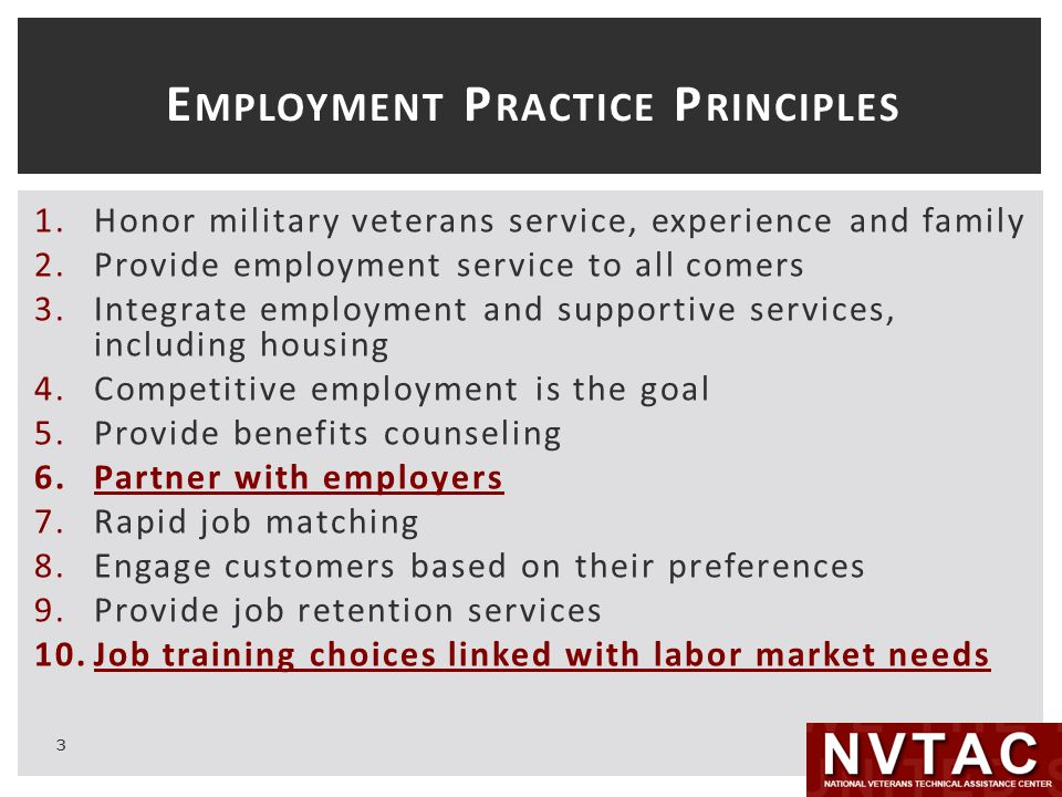 E MPLOYMENT P RACTICE P RINCIPLES 1.Honor military veterans service, experience and family 2.Provide employment service to all comers 3.Integrate employment and supportive services, including housing 4.Competitive employment is the goal 5.Provide benefits counseling 6.Partner with employers 7.Rapid job matching 8.Engage customers based on their preferences 9.Provide job retention services 10.Job training choices linked with labor market needs 3