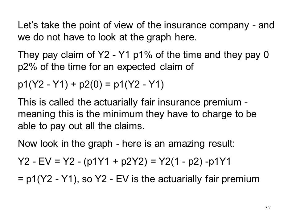 37 Let's take the point of view of the insurance company - and we do not have to look at the graph here.