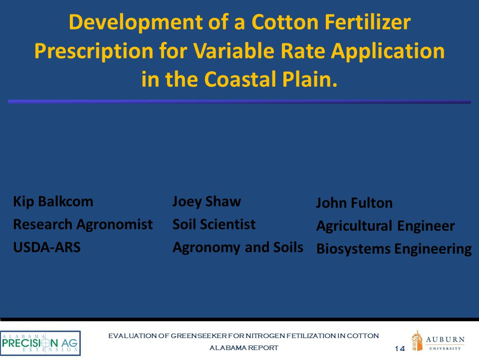 EVALUATION OF GREENSEEKER FOR NITROGEN FETILIZATION IN COTTON ALABAMA REPORT 14 Development of a Cotton Fertilizer Prescription for Variable Rate Application in the Coastal Plain.