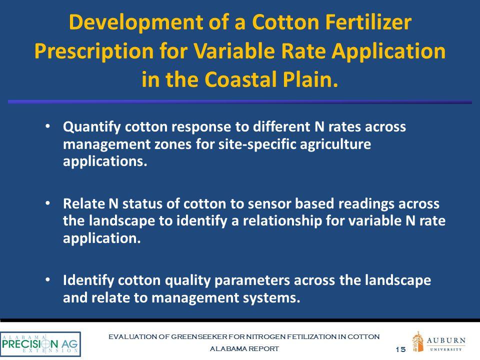EVALUATION OF GREENSEEKER FOR NITROGEN FETILIZATION IN COTTON ALABAMA REPORT 15 Development of a Cotton Fertilizer Prescription for Variable Rate Appl