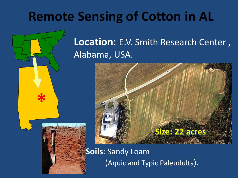 EVALUATION OF GREENSEEKER FOR NITROGEN FETILIZATION IN COTTON ALABAMA REPORT 16 Remote Sensing of Cotton in AL Location: E.V. Smith Research Center, A