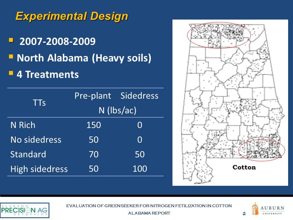 EVALUATION OF GREENSEEKER FOR NITROGEN FETILIZATION IN COTTON ALABAMA REPORT 2 Cotton Experimental Design   2007-2008-2009  North Alabama (Heavy so
