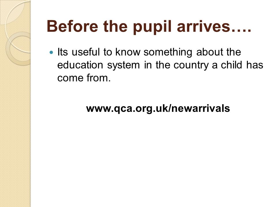 Before the pupil arrives….