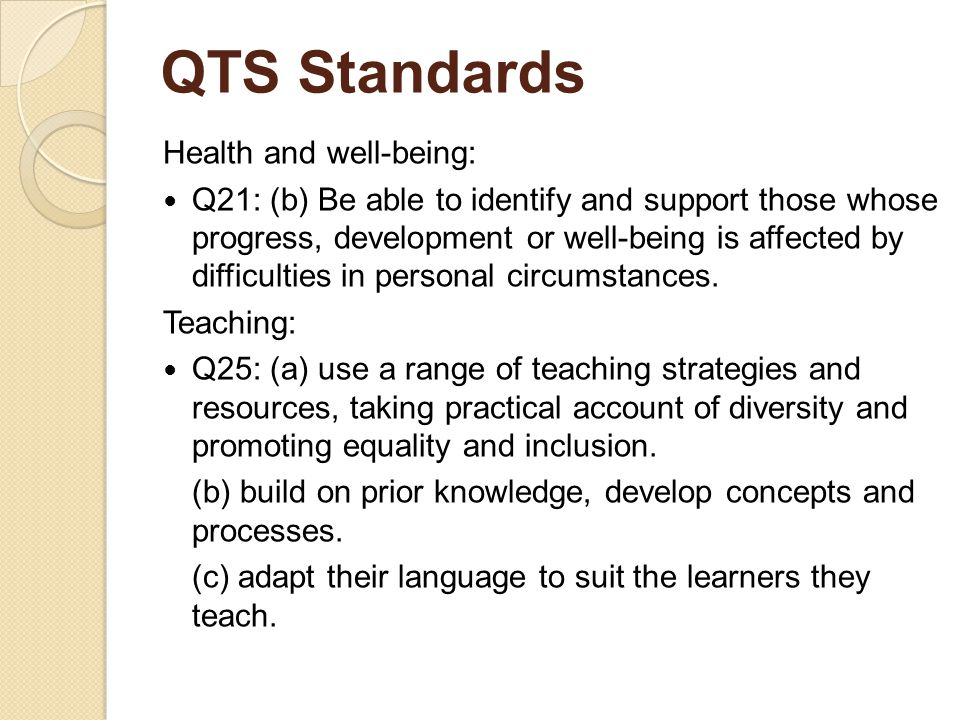 QTS Standards Health and well-being: Q21: (b) Be able to identify and support those whose progress, development or well-being is affected by difficulties in personal circumstances.