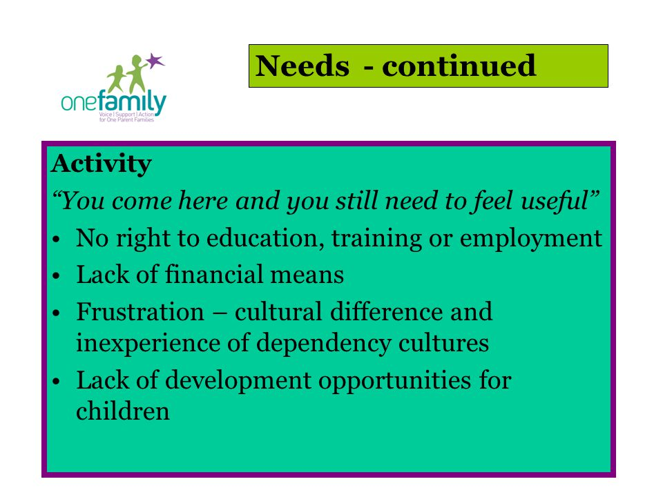 Activity You come here and you still need to feel useful No right to education, training or employment Lack of financial means Frustration – cultural difference and inexperience of dependency cultures Lack of development opportunities for children Needs - continued