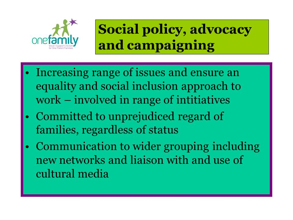 Increasing range of issues and ensure an equality and social inclusion approach to work – involved in range of intitiatives Committed to unprejudiced regard of families, regardless of status Communication to wider grouping including new networks and liaison with and use of cultural media Social policy, advocacy and campaigning