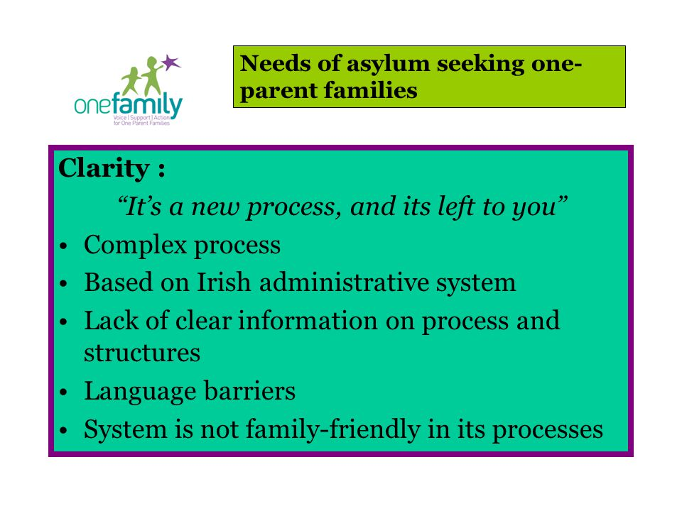Clarity : It's a new process, and its left to you Complex process Based on Irish administrative system Lack of clear information on process and structures Language barriers System is not family-friendly in its processes Needs of asylum seeking one- parent families