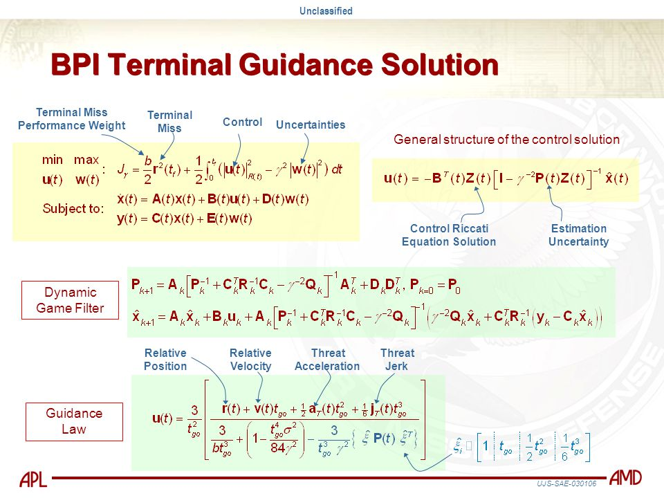 Unclassified UJS-SAE-030106 BPI Terminal Guidance Solution Dynamic Game Filter Estimation Uncertainty Control Riccati Equation Solution General struct