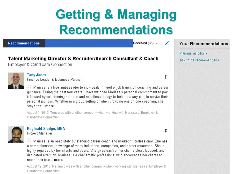 Getting & Managing Recommendations