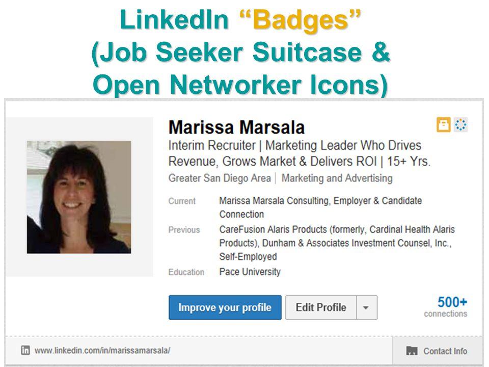 "LinkedIn ""Badges"" (Job Seeker Suitcase & Open Networker Icons)"
