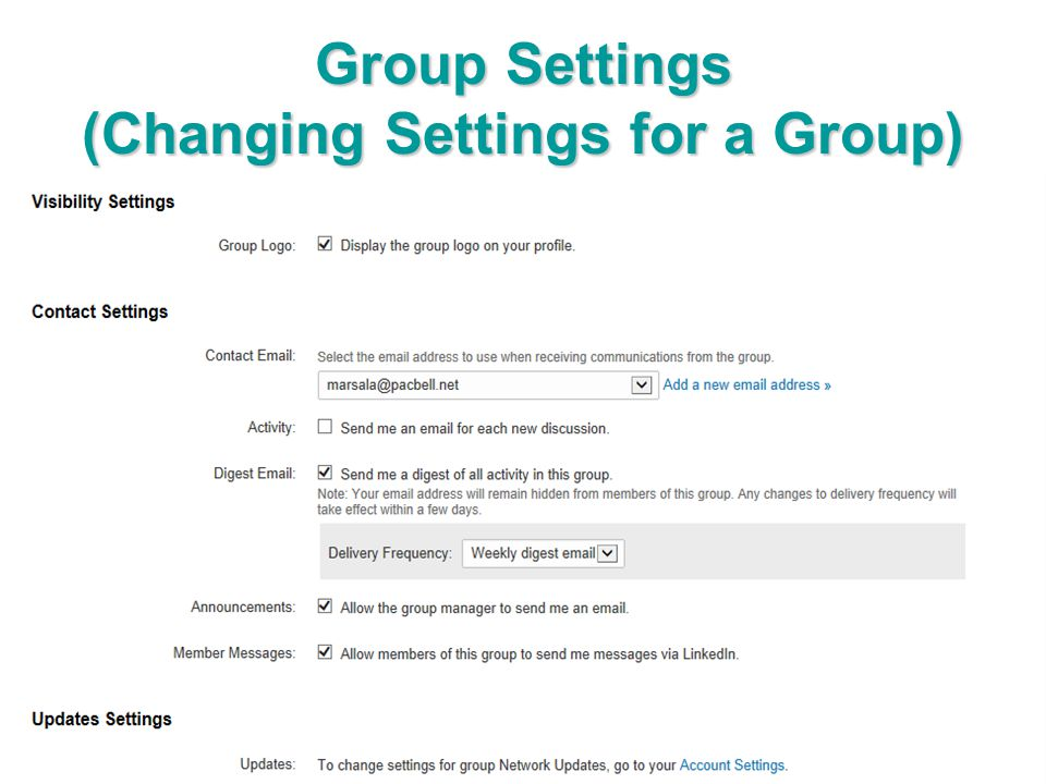 Group Settings (Changing Settings for a Group)