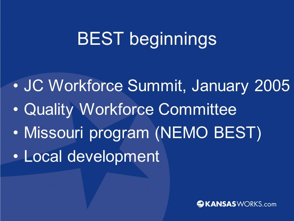 BEST beginnings JC Workforce Summit, January 2005 Quality Workforce Committee Missouri program (NEMO BEST) Local development