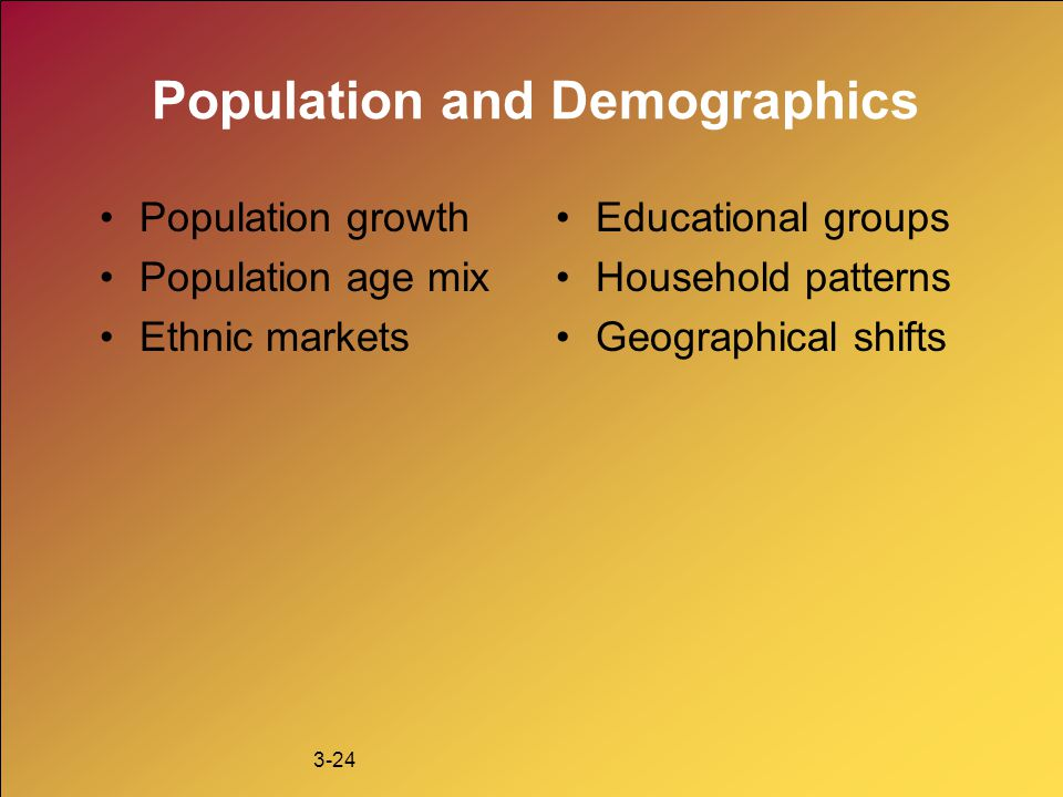 3-24 Population and Demographics Population growth Population age mix Ethnic markets Educational groups Household patterns Geographical shifts