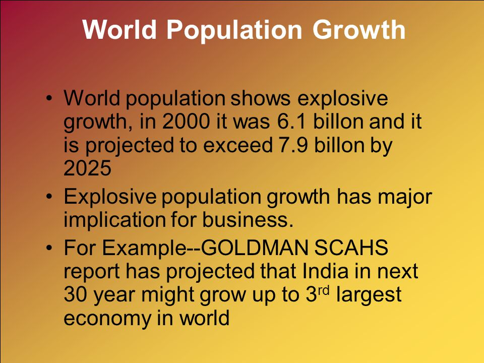 World Population Growth World population shows explosive growth, in 2000 it was 6.1 billon and it is projected to exceed 7.9 billon by 2025 Explosive