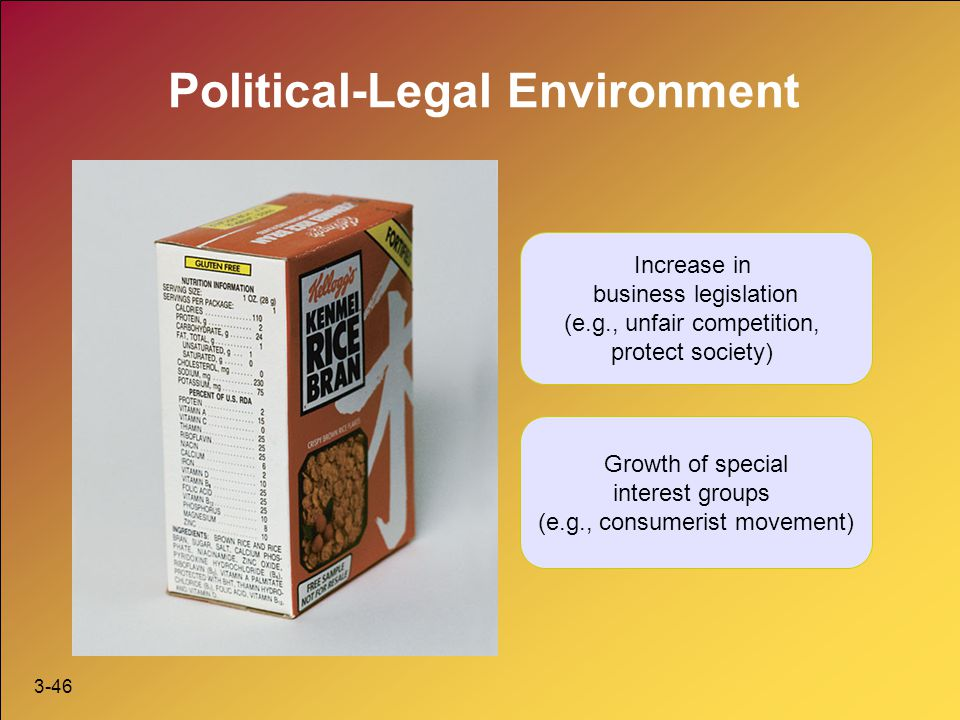 3-46 Political-Legal Environment Increase in business legislation (e.g., unfair competition, protect society) Growth of special interest groups (e.g.,