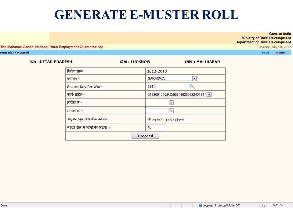 GENERATE E-MUSTER ROLL