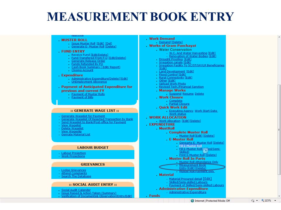 MEASUREMENT BOOK ENTRY