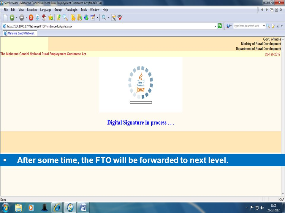  After some time, the FTO will be forwarded to next level.