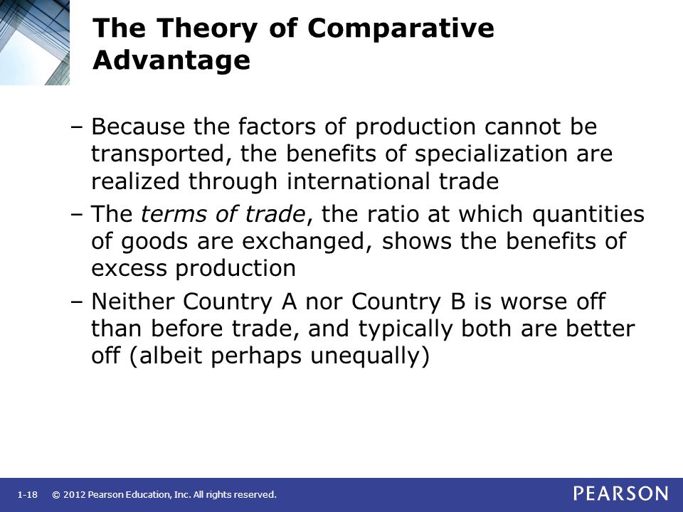 © 2012 Pearson Education, Inc. All rights reserved.1-18 The Theory of Comparative Advantage –Because the factors of production cannot be transported,