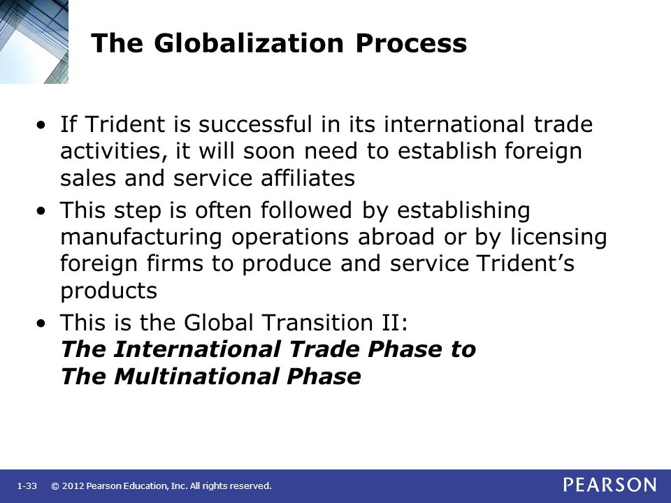 © 2012 Pearson Education, Inc. All rights reserved.1-33 The Globalization Process If Trident is successful in its international trade activities, it w
