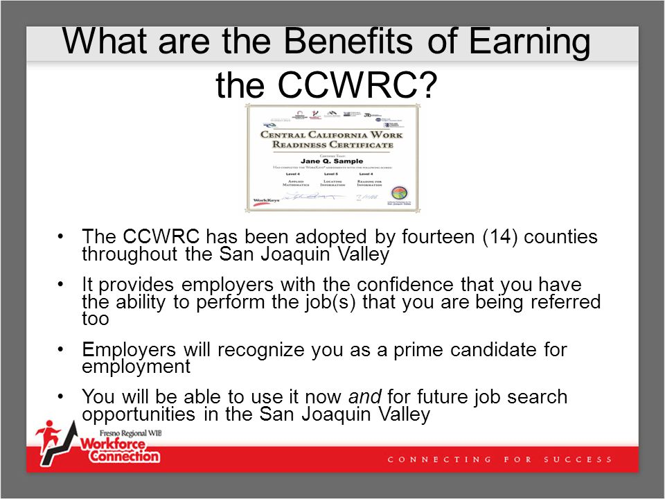What are the Benefits of Earning the CCWRC.