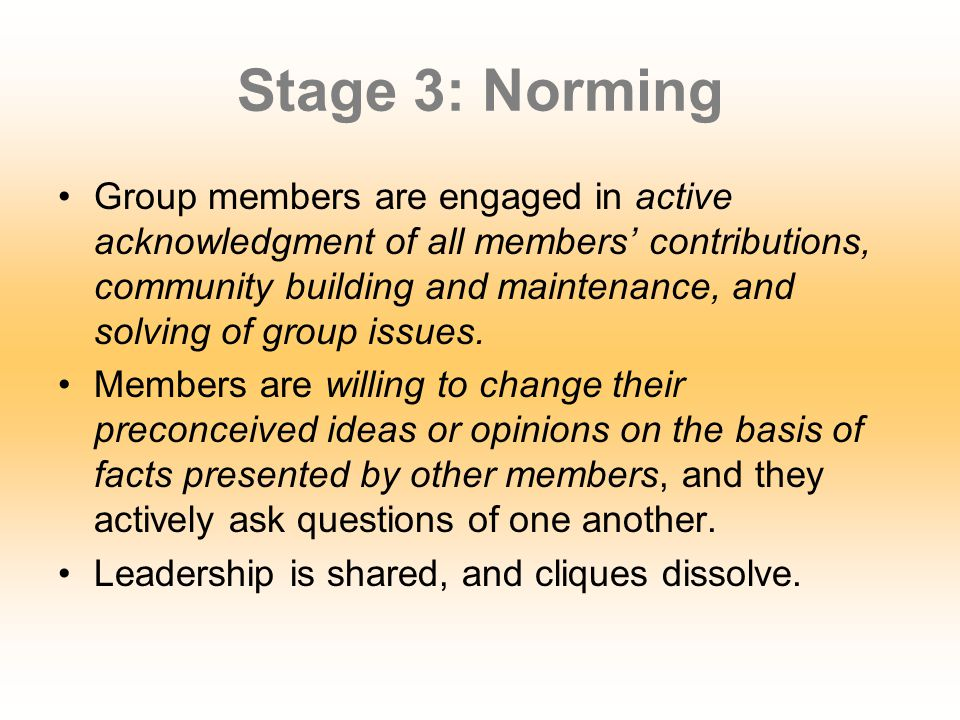 Stage 3: Norming Group members… Begin to experience a sense of group belonging Creatively share feelings and ideas, soliciting and giving feedback to one another Interactions are characterized by openness and sharing of information on both a personal and task level.