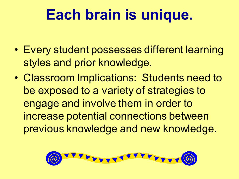 Each brain is unique. Every student possesses different learning styles and prior knowledge.
